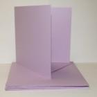 Kort & kuvert - kortstl. 15x15 cm, kuvertstl. 16x16 cm, lila pastellfärg, 10 set