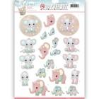 Yvonne Creation 3D Utstansat - Welcome Baby - Small Elephants