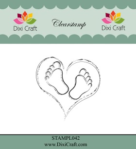 Dixi Craft - Clearstamp - Heart & Feets - Dixi Craft - Clearstamp - Heart & Feets