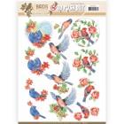 Jeaninés Art 3D Utstansat - Birds & Flowers - Blue birds