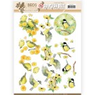 Jeaninés Art 3D Utstansat - Birds & Flowers - Yellow birds