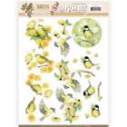 Jeaninés Art 3D Utstansat - Birds & Flowers - Yellow birds