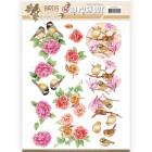 Jeaninés Art 3D Utstansat - Birds & Flowers - Pink birds