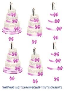 Barto Design - 3D Klippark - Bröllopstårta m rosa band - Barto Design - 3D Klippark - Bröllopstårta m rosa band