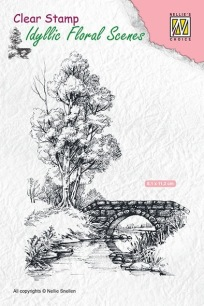 Nellie Snellen - Clearstamps - Scene with stream and bridge - Nellie Snellen - Clearstamps - Scene with stream and bridge