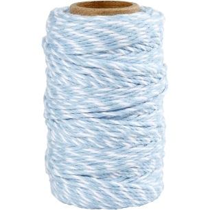 Bomullssnöre - Ljusblå/vit - 50m - Bomullssnöre - Ljusblå/vit - 50m