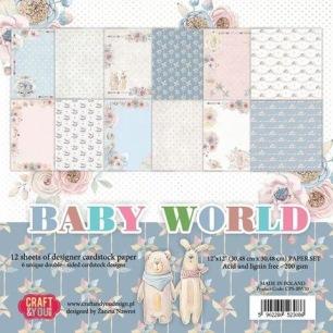 Craft & You - Dubbelsidigt papper - Baby World 30x30 cm - Craft & You - Dubbelsidigt papper - Baby World 30x30 cm