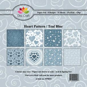 Dixi Craft Pappersblock - Heart Pattern/Teal Blue - Dixi Craft Pappersblock - Heart Pattern/Teal Blue