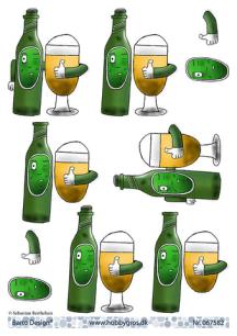 Barto Design 3D klippark - Ölflaska & glas - Barto Design 3D klippark - Ölflaska & glas