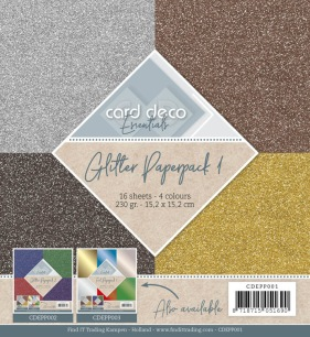 Card Deco - Pappersblock - Glitter Paperpack 1 - Card Deco - Pappersblock - Glitter Paperpack 1