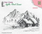 Nellie Snellen - Clearstamps - Snowy landscape with cottage