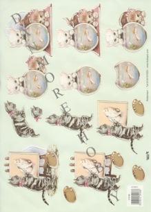 3D Klippark - Katter m fint glitter - 3D Klippark - Katter m fint glitter