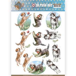Amy Design 3D Utstansat - Dogs Life - Playing Dogs - Amy Design 3D Utstansat - Dogs Life - Playing Dogs