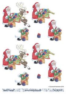 Barto Design - 3D Klippark - Tomte m ren och julklappssäck - Barto Design - 3D Klippark - Tomte m ren och julklappssäck