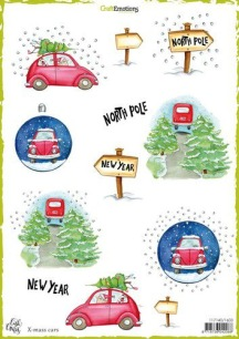 CraftEmotions - Decoupage sheets - X-mas cars - CraftEmotions - Decoupage sheets - X-mas cars
