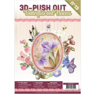 Cardbook - 3D utstansat - Butterflies and Flowers no 13 - Cardbook - 3D utstansat - Butterflies and Flowers no 13