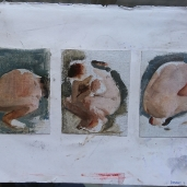 Figurestudies - oil on canvas mounted on paper - ca 20x30 cm