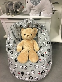 Babypuff, sittsäck - Babypuff, sittsäck, Lamm grå
