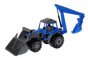 Plasto, traktor med grävare - Plasto, traktor med grävare blå