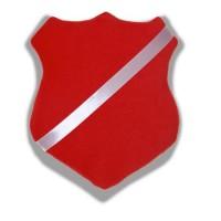 Märkestavla/märkessköld röd till pins och simmärken