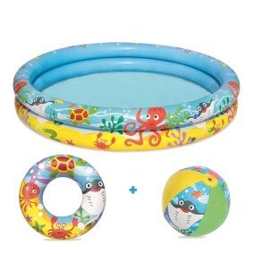 Bestway, Pool 122x20cm med boll/ring 46cm - Bestway, Pool 122x20cm med boll/ring 46cm