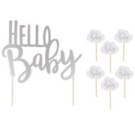 JaBaDaBaDo Tårtdekoration Hello Baby 11-pack
