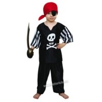 Svart piratdräkt, barn stl 122/128