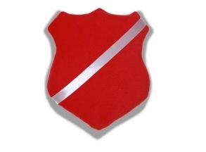 Märkestavla/märkessköld röd till pins och simmärken - Märkestavla/märkessköld röd till pins och simmärken