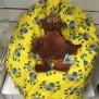 Babypuff, sittsäck till bebisar - Babypuff gul med spindlar