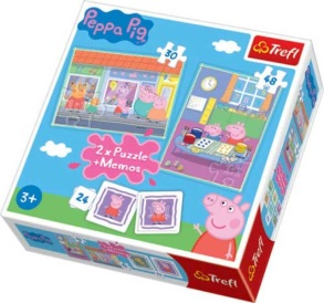 Trefl Pussel + Memo - Peppa Pig 30 & 48 Bitars - Greta Gris 3+ - Trefl Pussel + Memo - Peppa Pig 30 & 48 Bitars - Greta Gris 3+
