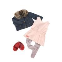 Our Generation dockkläder med jacka, klänning och skor - dockor ca 46 cm