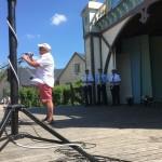 Firande av Sveriges nationaldag i Billesholms Folketspark, Bjuvs Musikkår, Billesholms Musikkår, Skromberga Blåsorkester, Drillgrupper