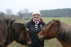 Per, happy to be surrounded by our horses at SundsbergKval!