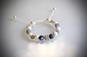 Agat och strass armband