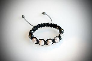 Shamballa armband glitter - Kristall