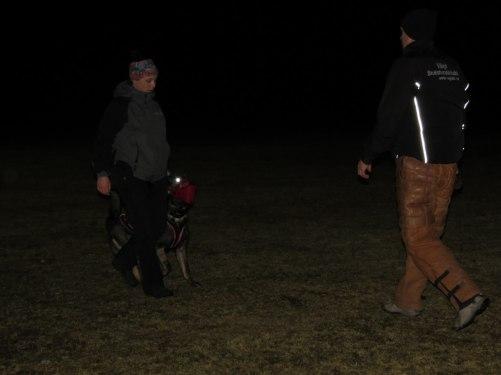 Emma och Axa tränar transporter på Patrik