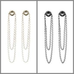 Rockiga örhängen i silver och oxiderat silver.