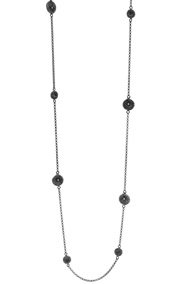 Knappfossil_Halsband 95cm_oxiderat silver
