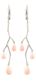 Örhänge Wildrose i silver med rosa Opal