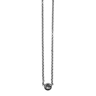 Fossil halsband oxiderat silver, medium -