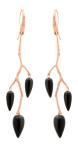 Örhänge Wildrose i roséguld svart onyx