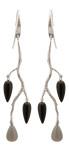 Örhänge Wildrose i silvermed grå Månsten och svart Onyx