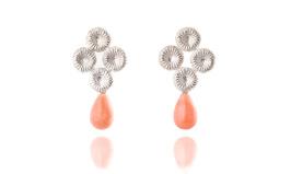 Fossilgarden - örhängen i silver med rosa Opal