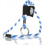 Rundvävt nyckelband med etikett