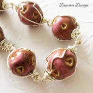 Wire wrap keramik rosa/brun