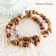 Elastiska armband brun/agater