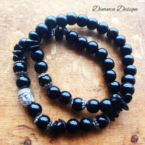 Elastiska armband svart/Buddha - Elastiska armband svart/Buddha