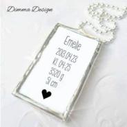 Lött smycke namn, födelsedata & hjärta