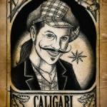 Caligari klistermärke liten