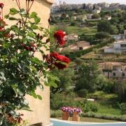 Utsikten mot byn från poolen